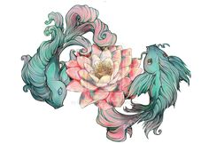 Not this exact drawing but the idea of the lotus flower and the koi