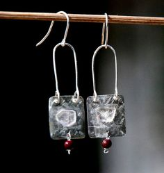Red Vintage Bead Textured Silver Earrings-Amethyst Chip Square Silver Earrings-Long Arched silver Earring-Silver Sheet-Lightweight-Original