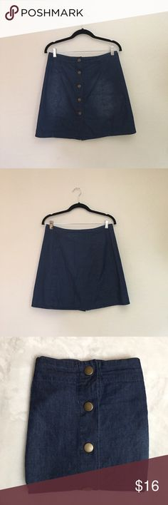 Xhilaration Dark Chambray Button Skirt Adds great style to any summer or fall outfit! Measurements laid flat: width 15 inches, length 17.5 inches. Material: 100% cotton. Unlined, excellent used condition! Xhilaration Skirts Mini