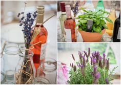 Lots of things I like about this. Herbs as centerpieces. Wine on the table. A cheese table.... 20 DIY Backyard Wedding by Mia Hooper