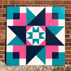 Finished up this custom Friendship Star barn quilt today. I love how the navy blue squares look like how the pink and teal might look if overlapped while making paper maché. Quilt Square Patterns, Barn Quilt Patterns, Square Quilt, Barn Quilt Designs, Quilting Designs, Barn Quilts For Sale, Painted Barn Quilts, Oak Plywood, Barn Signs
