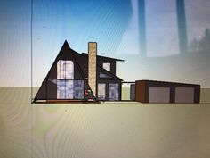 Our A-frame with an extra 1000 sq ft addition. Addition contains two bedrooms and a living room. Drawing done with Google Sketchup.