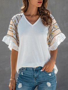 Style:Brief Pattern Type:Patchwork Material:Polyester Neckline:V-Neck Sleeve Style:Short Sleeve Decoration:Ruffles Length:Regular Occasion:Casual Package Note: There might be Casual T Shirts, Tee Shirts, Tees, Patchwork Material, Ruffles, Short, Sleeve Styles, Bell Sleeve Top, V Neck