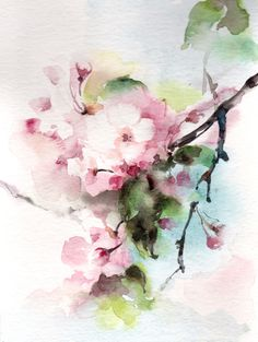 Cherry Blossoms Original Watercolor Painting, Watercolour Art Flowers Painting Oink Green Floral Modern Art by CanotStop on Etsy