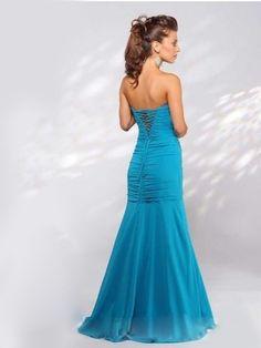 2011 Style Sheath / Column Strapless Embroidery  Sleeveless Floor-length Chiffon Green Prom Dress / Evening Dress