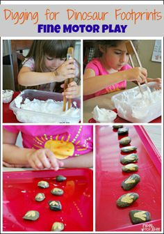 Digging for Dinosaur Footprints - Fine Motor Play. Part of the Play, Craft and Learn with Dinosaurs series.