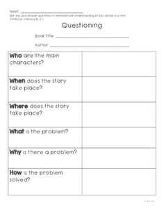 A very simple graphic organizer to use with Common Core Standard:  CCSS.ELA- Literacy. RL.2.1.  Use if you like :).
