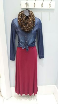 Animal print scarf 16.99, chambray shirt 29.99, Mikarose Maxi skirt (item of the week) 17.50.