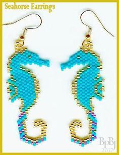 Bead Pattern - Seahorse Earrings - Peyote/Brick stitch