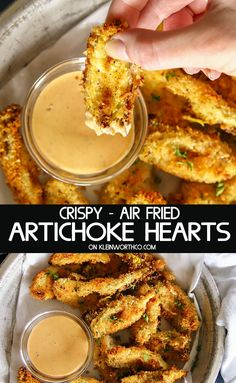 Crispy Air Fried Artichoke Hearts are a simple & easy appetizer. These delicious panko coated artichoke hearts are the hit of every party. Perfect for backyard BBQ's & every holiday. #ad #StepOutOfYourComfortFood @ReeseSpecialty #airfryer #artichokes #fried #crispy #appetizers #partyfood #tailgating #gameday #snack #airfryerrecipes #easyrecipes Air Fryer Recipes Vegetarian, Air Fryer Oven Recipes, Air Frier Recipes, Air Fryer Dinner Recipes, Appetizer Recipes, Cooking Recipes, Healthy Recipes, Simple Appetizers, Cooking Tools