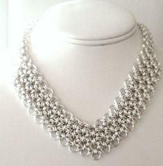 Chain+Maille+V+Mesh+Sterling+Silver+Necklace+by+SomethingSilverCM,+$450.00