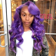 Look at the site press the grey tab for additional information ~ real hair wigs near me Dope Hairstyles, Black Girls Hairstyles, Weave Hairstyles, Protective Hairstyles, Hairstyle Ideas, Purple Hair Black Girl, Purple Wig, Love Hair, Big Hair