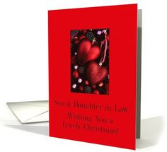 Son & Daughter in Law, Wishing you a Lovely Christmas red ornaments card
