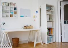 cool minimal bunk beds for kids Feminine Home Office Designs and How to Pull it Off workspace / desk area for kids dual work space Office Sp. Sheila E, William Morris, Long Desk, Feminine Home Offices, White Painted Furniture, Desk Layout, Workspace Inspiration, Style Inspiration, Home Office Design