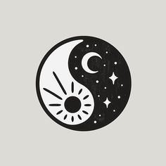 Sun & moon in yin yang -- two halves of one balanced whole.