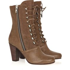Chloé Leather lace-up boots