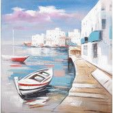 Found it at Wayfair - Greek Seascape Oil Painting