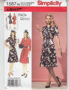 Retro Misses Dress 1940s Style Simplicity Sewing Pattern 1587 Sz 14-22 Uncut