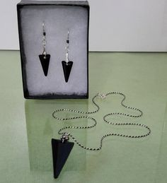 Jet Spiked Crystal Pendant & Earrings by CocoBeanJewels on Etsy
