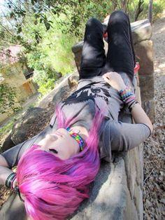 #nerdy #scene #girl #emo #teenager #pink #hair
