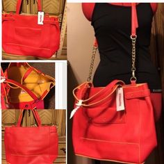 Orange Sunset tote NWT. This large purse boasts lot of room and style. It has an orange-y red color with yellow accents. Reminds me of a beautiful sunset. Magnetic top closure. Has optional shoulder strap. Inside is one large opening. No zippers or pockets. Beautiful. JustFab Bags Totes
