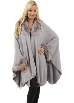 Urban Mist Aspen Grey Faux Fur Trimmed Poncho