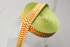 Chevron FOE - Lime and Orange Chevron Print Fold Over Elastic - 5 Yards