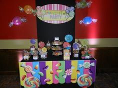 Candy table from Peace, Love Party for my parents 65th birthdays.