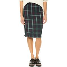 cupcakes and cashmere Hope Plaid Pencil Skirt (3,295 THB) ❤ liked on Polyvore featuring skirts, multi, knee length pencil skirt, tartan skirt, tartan pencil skirt, plaid pencil skirt and plaid skirt
