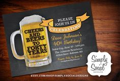 Cheers and Beers to Forty Years Chalkboard Invitation Birthday Party PRINTABLE 40th