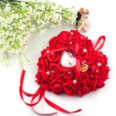 Висит свадебной кольца вырос горный хрусталь в форме сердца дизайн подушка обручальное кольцо для украшениякупить в магазине Romantic Wedding наAliExpress