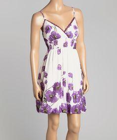 Another great find on #zulily! Purple & Ivory Floral Empire-Waist Dress #zulilyfinds