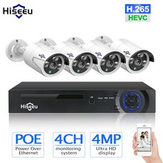 CCTV System POE NVR kit waterproof POE IP camera bullet Home Security camera system outdoor low lux onvif Hiseeu Alarm Systems For Home, Best Home Security, Wireless Home Security Systems, Security Cameras For Home, Security Alarm, Security Products, Ip Camera, Video Camera, Bullet Camera