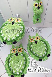 Artes da Desi: Jogo de banheiro corujas de crochê