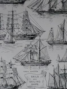 Vintage 1927 Sails and Sailing Ships print - schooner - barquentine - barque - topsail - sea - yacht - black and white - ropes - knots