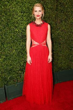 Claire Danes wearing a floaty red Givenchy Haute Couture gown at the 2014 Emmy Awards