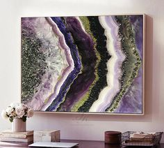 Resin Painting Fluid Painting Large On Canvas Wall art Mineral Painting The resin art painting has a high gloss finish and is far better in real life than what a camera can capture. In the instagram there is a video of some pictures, subscribe to see them