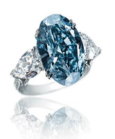 Blue Diamond Ring  16.26 million dollars  Blue diamonds are among the rarest of naturally colored gems. That's why this oval-shaped diamond ring, with triangular-shaped diamond shoulders and a pave-set diamond band in 18-carat white gold, will set you back about 1.7 million per carat.
