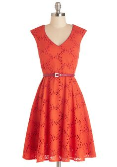Efflorescent Entrance Dress - Orange, Pink, Eyelet, Belted, Special Occasion, Party, A-line, Cap Sleeves, Summer, Better, V Neck, Mid-length... #fashion #beautiful #pretty Please follow / repin my pinterest. Also visit my blog http://fashionblogdirect.blogspot.com/