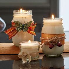 Make your own DIY soy candles this season and embellish them with fall ribbons and trinkets.