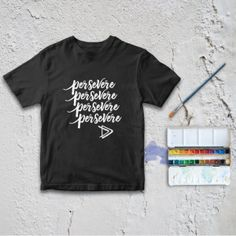 Kids, Shirt, Graphic, Tee, Encouraging, Gift, Office, Minimalist, Minimalism, Shop Small, Business, Activism, One Word Life, Persevere