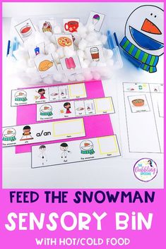 Snowman Themed PUSH-IN Language Lesson Plan Guide Work on hot/cold food and grammar concepts using this feed the snowman sensory bin for speech therapy. Increase engagement while building MLU and vocabulary skills. Preschool Speech Therapy, Vocabulary Activities, Speech Language Pathology, Speech Therapy Activities, Language Activities, Speech And Language, Preschool Activities, Shape Activities, Sensory Bins