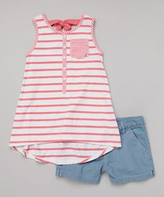 Loving this Rose Stripe Trapeze Tank & Chambray Shorts - Toddler & Girls on #zulily! #zulilyfinds