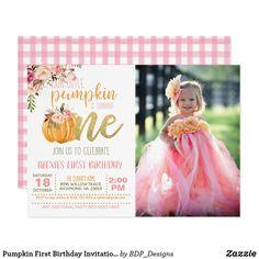 Pumpkin First Birthday Invitation Photo - FLP Girl Pumpkin First Birthday, Girl First Birthday, First Birthday Parties, First Birthdays, 1st Birthday Invitations, Party Invitations, Fl Girls, Printable Business Cards, Kids Party Supplies