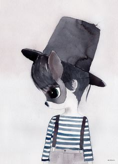 Mrs Mighetto - 'Les Petits' Mr Jack watercolour art print - 50x70cm framed in White - STORE PICKUP ONLY
