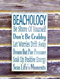 Beach Sign Beachology Unique Beach Theme Wedding Decor Custom Nautical Wooden Plaque Rules Wisdom Lessons Advice Ocean Sea Wall Art Gift