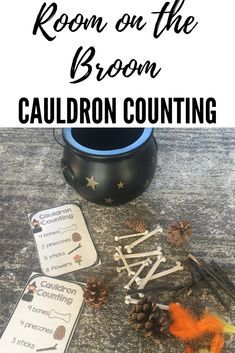This is a preschool book companion for the book Room on the Broom. Practice counting by adding ingredients to the cauldron. Halloween Math, Halloween Activities For Kids, Halloween Books, Eyfs Activities, Nursery Activities, Fall Preschool, Preschool Books, World Book Day Activities, Julia Donaldson Books