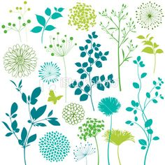 Flower and Leaf Design Elements Royalty Free Stock Vector Art Illustration