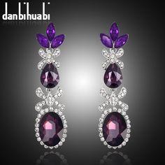 2015 New Design Red Blue Purple Earrings Fashion Jewelry Glass Rhinestone Long Drop Earring Water Drop Eardrop For Women
