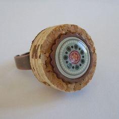 Kaleidoscope Flower Wine Cork Ring by ParadiseDrive on Etsy, $13.00